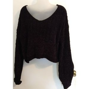 Crop Sweater Top Soft Loopy Fabric XL NWT